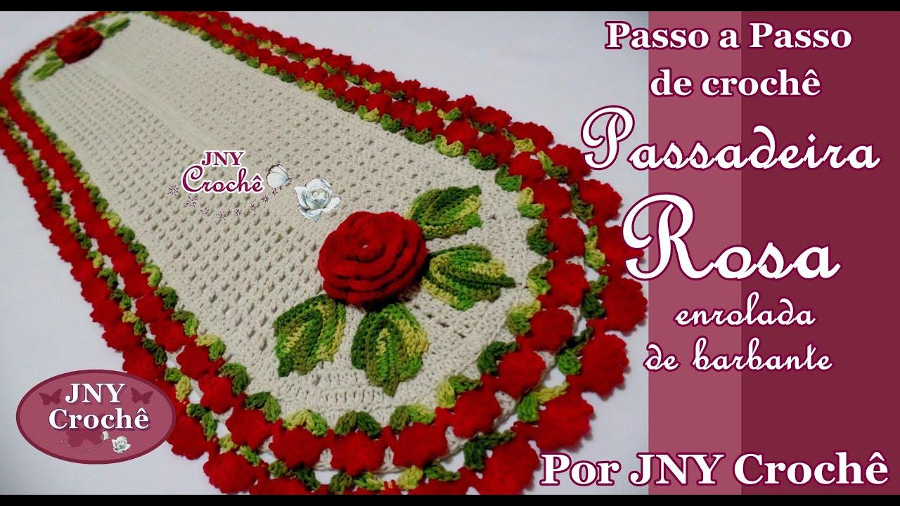 Super PAP de crochê Passadeira Rosa enrolada de barbante por JNY Crochê  CF38