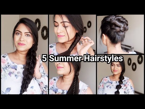 5 HAIRSTYLES FOR SUMMERS// Everyday Quick Easy Hairstyles For Long Hair