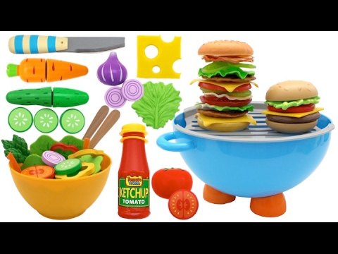 Toy Barbecue Hamburger Playset Play Doh Learn Fruits & Vegetables with Velcro Toys for Kids