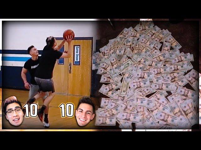 $10,000 1v1 Basketball game! Nerd Asian Kid Vs. Buff Guy