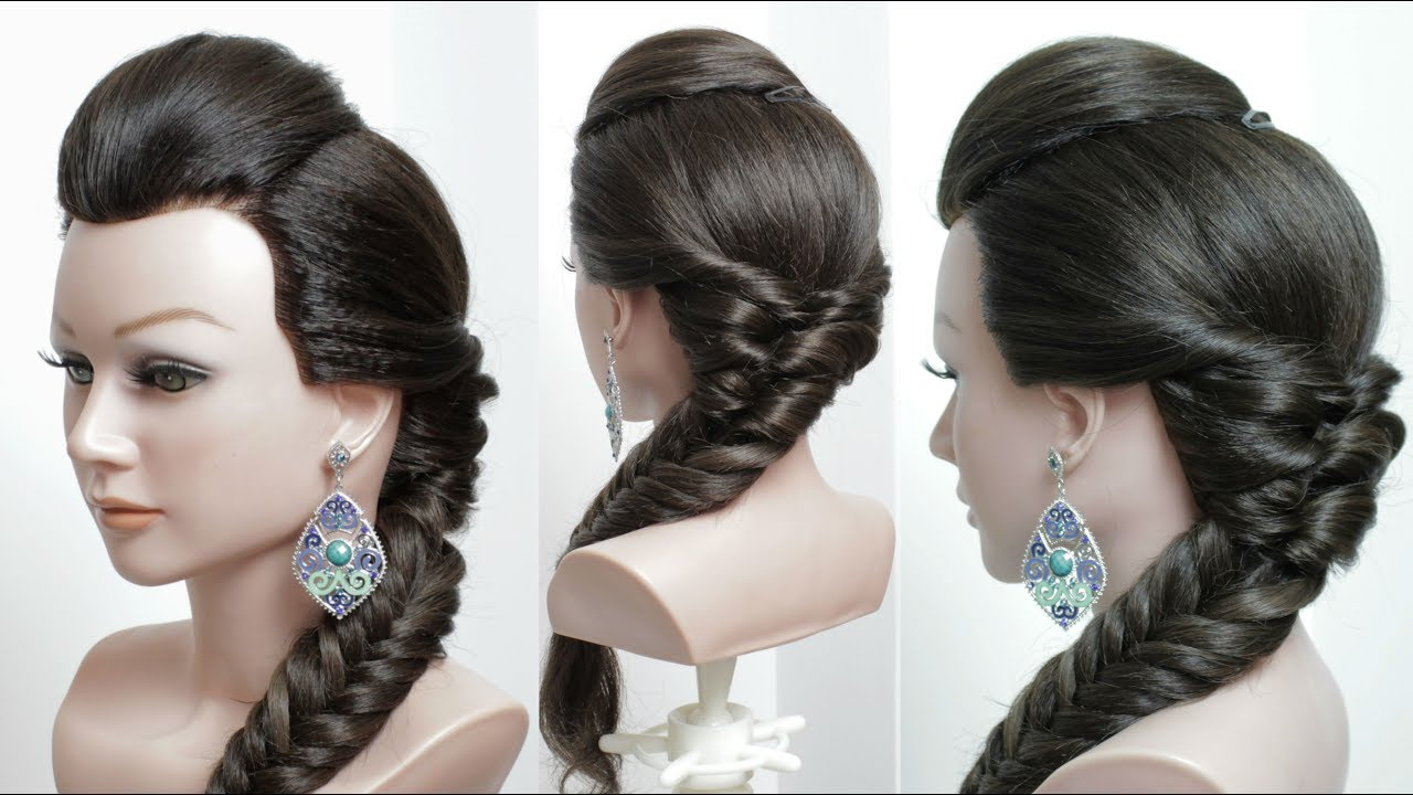 10 Braided Hairstyles For Long Hair: Simple Hairstyle With Front Puff And Fishtail Braid. Long
