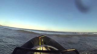 rib boat jumping waves