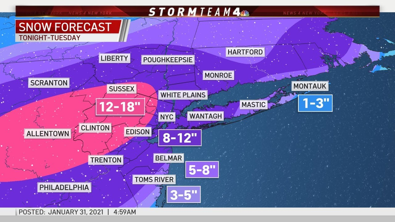 Nor'easter may bring over a foot of snow to NYC through Tuesday ...