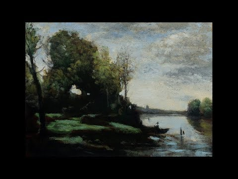 Study after: Camille Corot River with a Distant Tower Tonalist Landscape Oil Painting