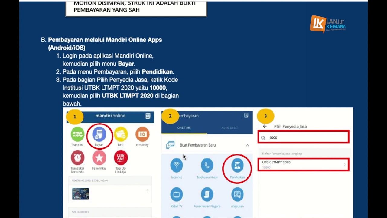 Cara Membayar Utbk Sbmptn Via Bank Mandiri Mandiri Online Mobile Banking Youtube