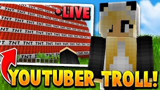 TROLLING A YOUTUBER WHILE SHE'S STREAMING!! w/ Reaction (Minecraft Trollling)