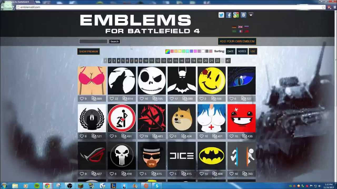 How To Get Awesome Battlefield 4 Emblems Youtube