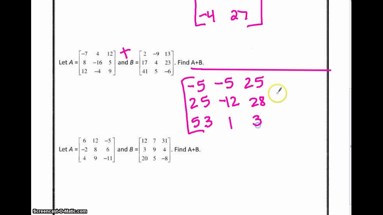 worksheet Adding And Subtracting Matrices Worksheet a2 matrices worksheet add and subtract youtube subtract
