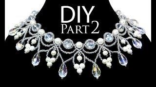 DIY: beading wedding necklace with pearls (part 2 of 2) / Свадебное колье из бисера и жемчуга