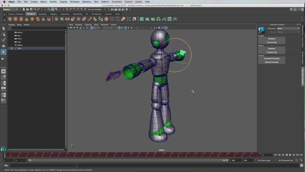 Binding FBX Mocap file to Model with Maya 2016
