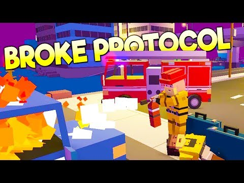 I'M A FIREFIGHTER! FREE ON-LINE LOW-POLY GTA CITY LIFE UPDATE!  - Broke Protocol Gameplay