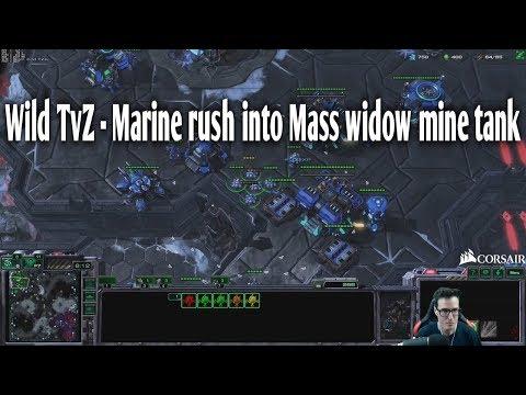 Wild TvZ - Marine Rush Into Mass Widow Mine Tank