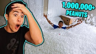 Filling Entire Room with PACKING PEANUTS! *Prank on BROTHER*