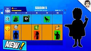 *NEW* LEAKED SEASON 5 BATTLE PASS SKINS, THEME AND TRAILS! Fortnite Season 5 Battle Pass Leaked!