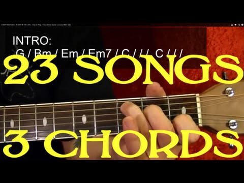 23 EASY Songs - 3 Chords - Guitar Lesson✅✅🎵 - YouTube