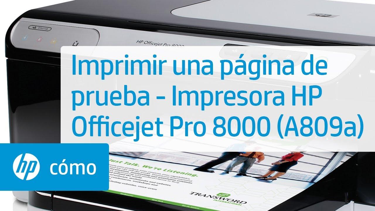 Imprimir una página de prueba - Impresora HP Officejet Pro 8000 ...
