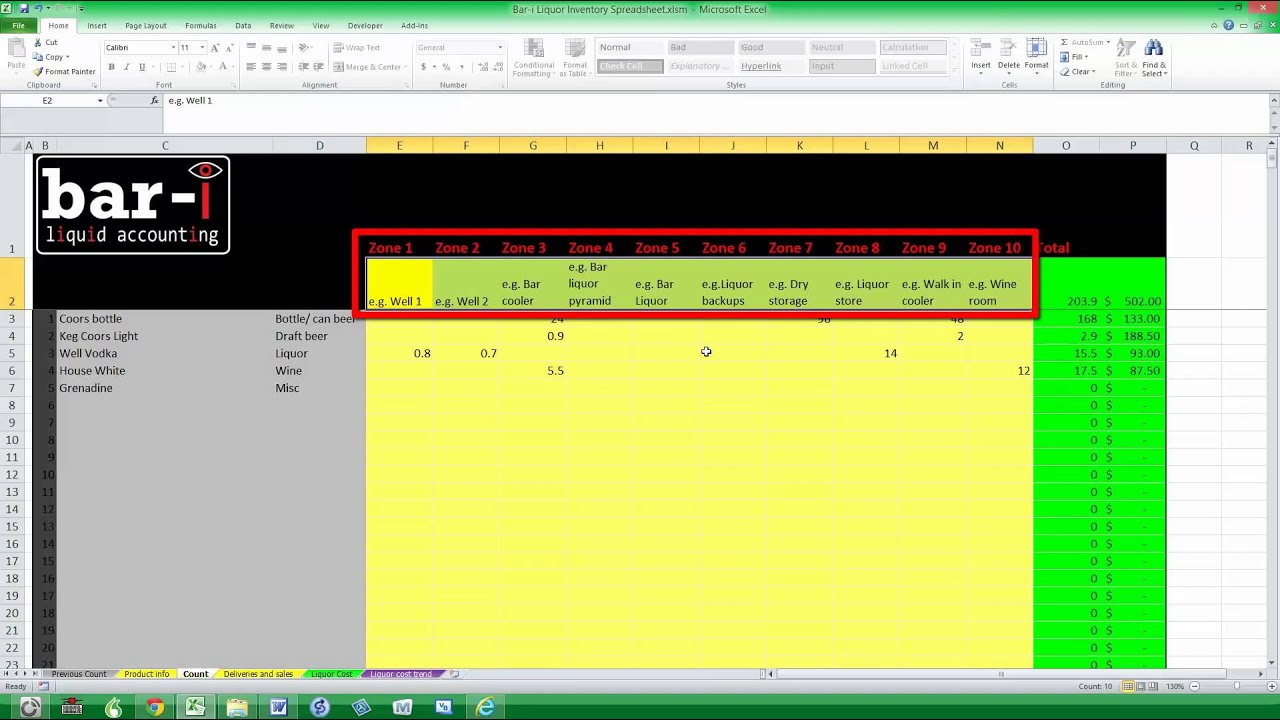 Bar i free liquor inventory spreadsheet instructions - YouTube