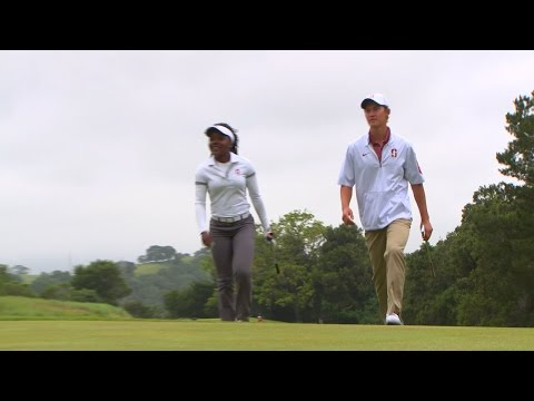 Stanford golf standouts Mariah Stackhouse, Maverick McNealy tee it off together