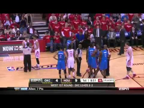 Kendrick Perkins Confronts Garcia, Does Pushups (OKC vs. Rockets May 3, 2013)