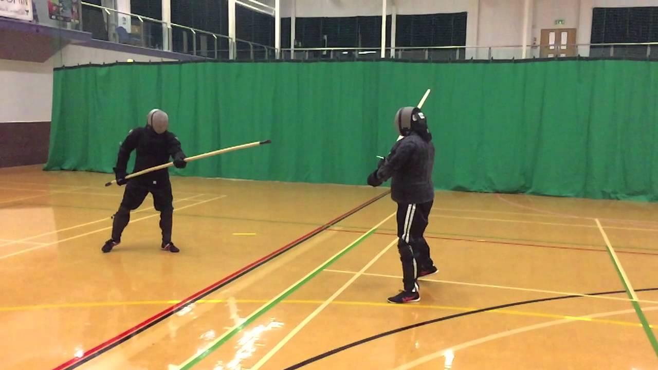 AHF Michael vs Nick spear vs longsword sparring Playback 1x normal speed  Recorded 120fps