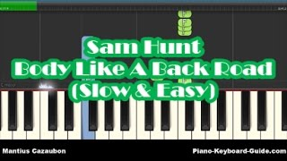 Sam Hunt - Body Like A Back Road SLOW Easy Piano Tutorial - Notes