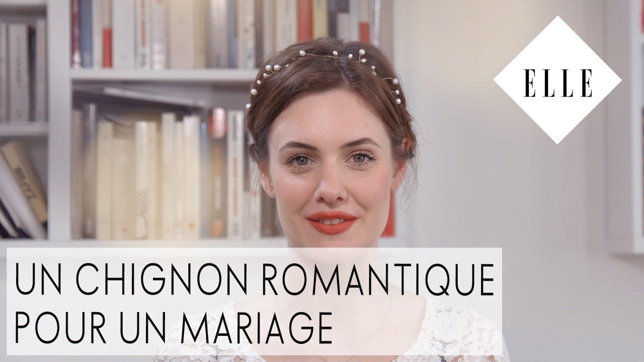 Un Chignon Romantique Pour Un Mariage Elle Coiffure Youtube