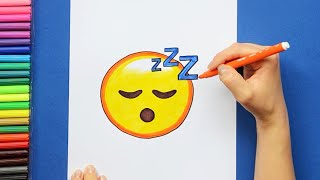 How to draw and color Sleeping Face Emoji