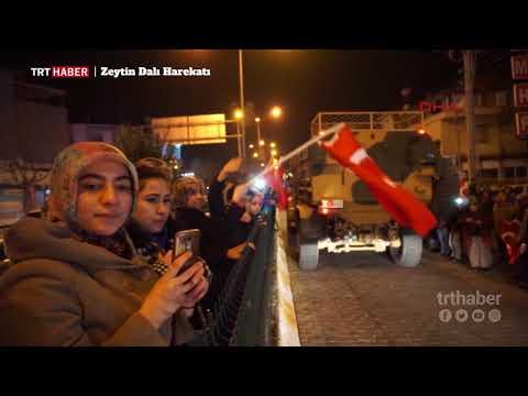 Kilis'e sevk edilen askeri konvoy, Türk bayraklarıyla karşılandı.
