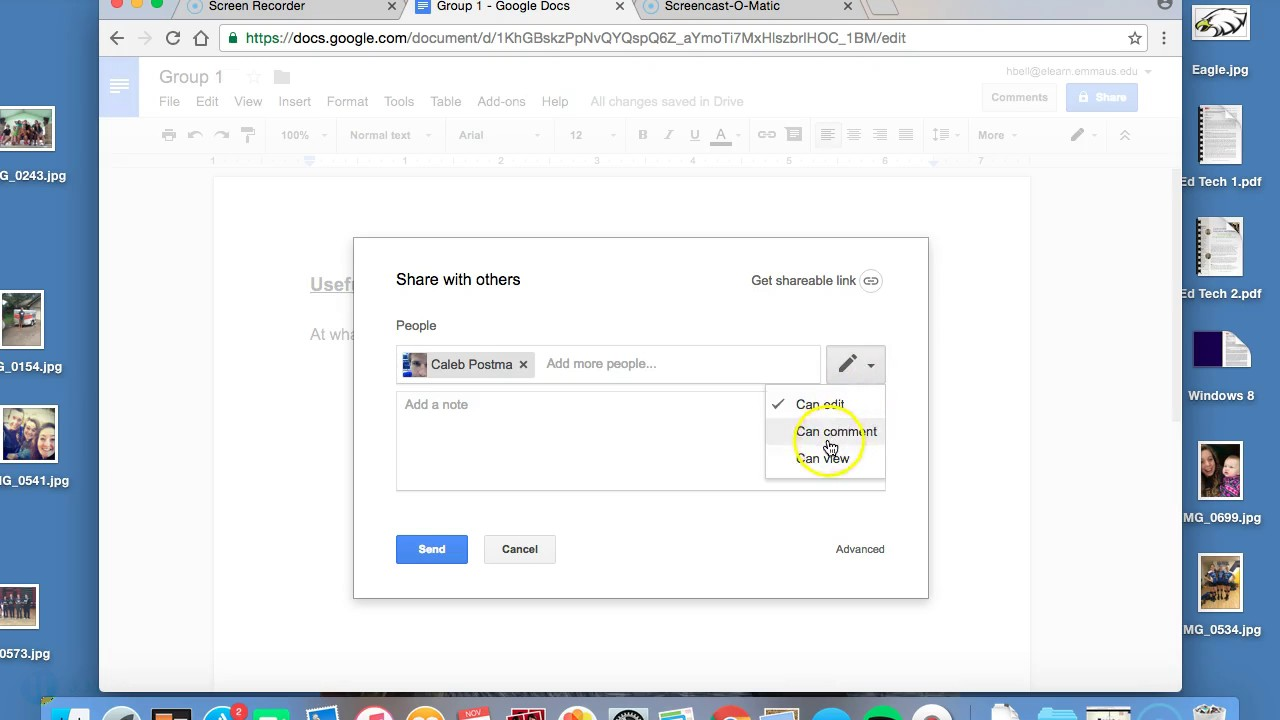how to create a share group in google docs