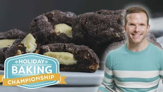 Giant Cheesecake-Stuffed Chocolate Thumbprint Cookies with Zac Young | Holiday Baking Championship