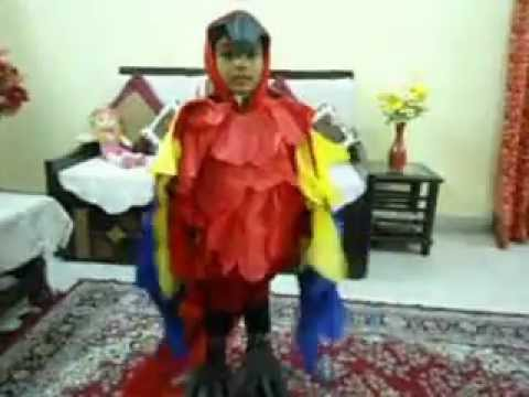 MACAW PARROT COSTUME(HOME MADE)--FANCY DRESS-....SR.K.G. Travel Video