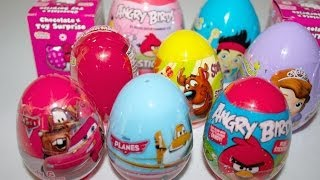 10 huevos sorpresa surprise eggs  angry birds cars planes sofia the first spider man hello kitty