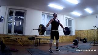 Тяжелая атлетика - рывок с положения выше колен 100 кг. Неудача)))