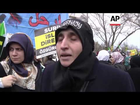 Protest held to mark second anniversary of Syrian uprising