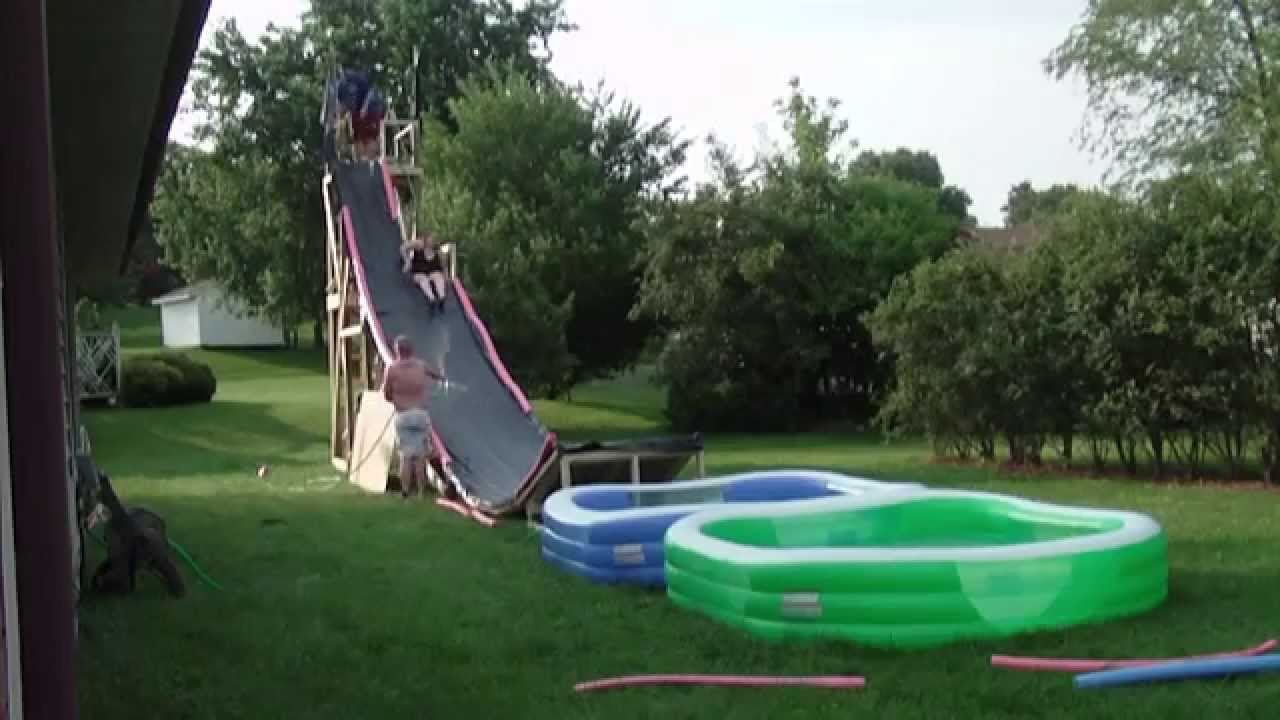 Backyard Waterslide backyard water slide - youtube