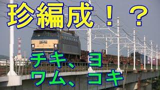 EF66-29号機の牽引する珍編成!?貨物列車です。 カマのEF66を先頭に、...