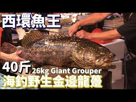 Chopping 26kg Wild Giant Grouper Alive Bloody CautionOH! Seafood 4K