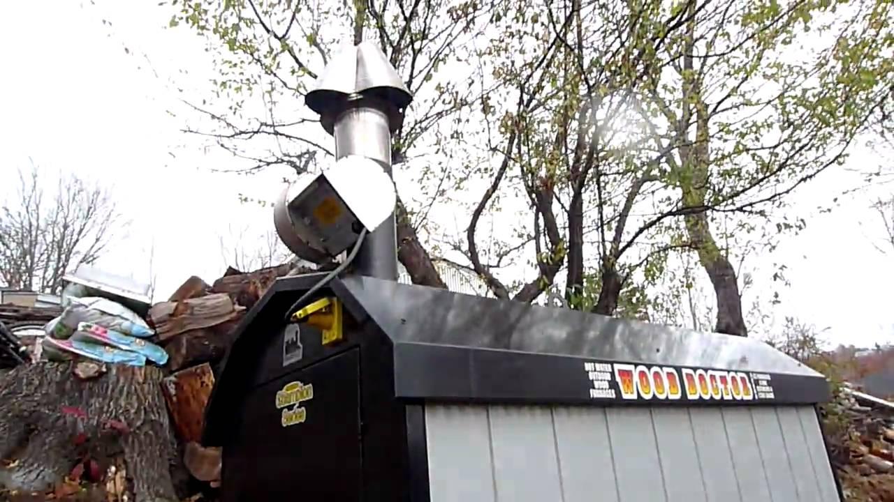 Wood Doctor HE10000 Outdoor Furnace Burning - YouTube