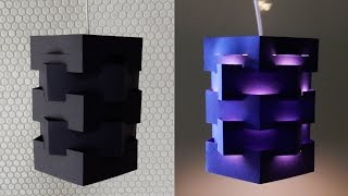 DIY pendant lamp (pentagon) - how to make a lampshade/lantern for hanging light - EzyCraft