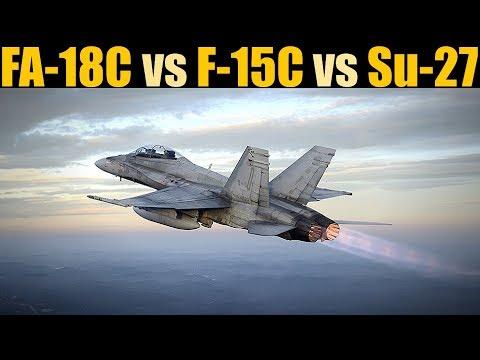 DOGFIGHT: FA-18C Vs F-15C Vs Su-27 #HornetIsAwesome   DCS WORLD
