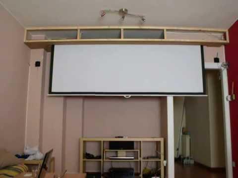 Motorizado pantalla proyeccion empotrada youtube for Pantalla para proyector