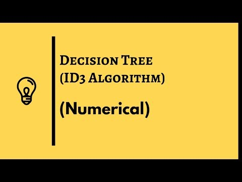 Decision Tree Solved | Id3 Algorithm (concept And Numerical) | Machine Learning (2019)
