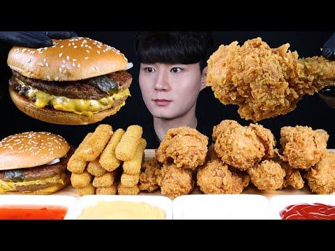 치즈버거 치즈스틱 치킨 먹방ASMR MUKBANG DOUBLE CHEESEBURGER & FRIED CHICKEN ダブルチーズバーガー チキン Eating Sounds