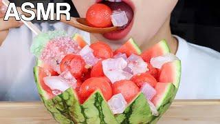 ASMR Watermelon Punch (Hwachae) 수박화채 먹방 Fruit Eating Sounds Mukbang