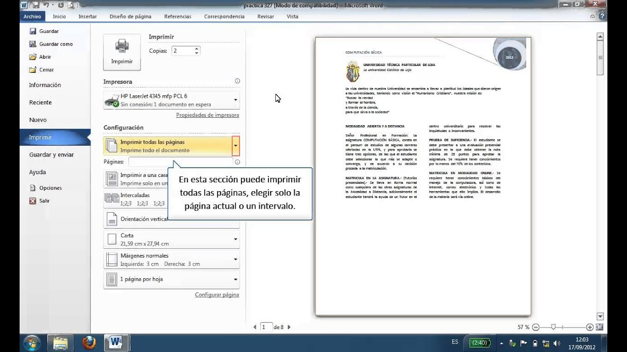Word 2010 Imprimir documentos - YouTube