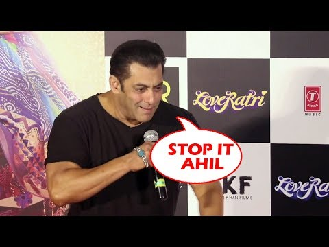 Salman Khan Shouts At Nephew Ahil Sharma | CUTE Moment | Loveratri Offcial Trailer Launch