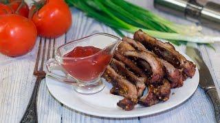 Свиные ребрышки в медово-горчичном соусе в духовке