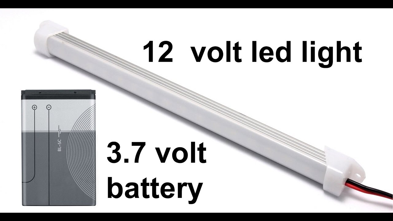 12 volt led light run by mobile battery - YouTube