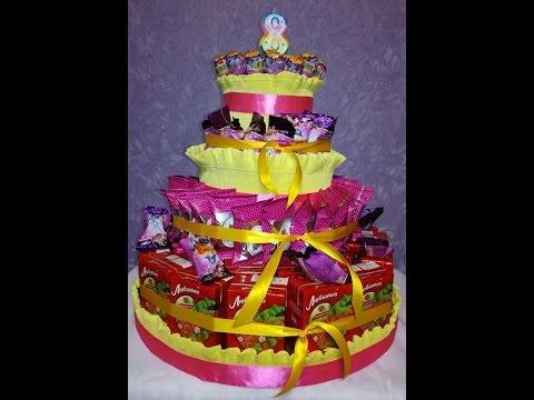 Смотреть онлайн Торт из конфет и сока для школы/дет.сада своими руками\ Cake Making with sweets