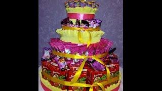 Торт из конфет и сока для школы/дет.сада своими руками Cake Making with sweets